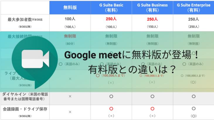 Google meetに無料版が登場!有料版との違いは?